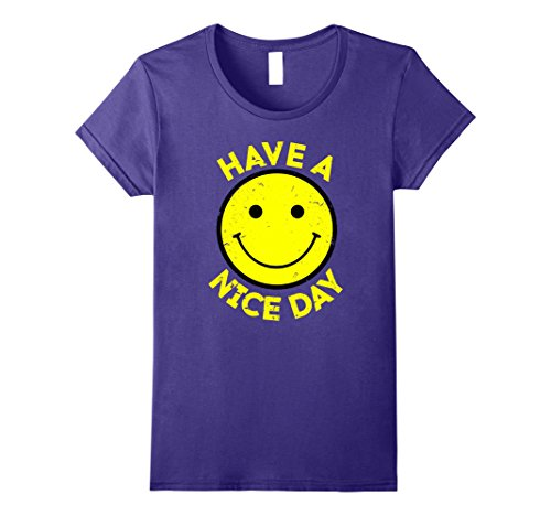 Womens Have A Nice Day Retro Vintage 70s Smiley Face T-Shirt Large - Face Smiley Purple