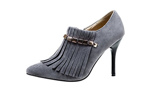 BalaMasa Ladies Solid Fringed Zipper High-Heels Studded Microfiber Pumps-Shoes Gray 4bEQJ4