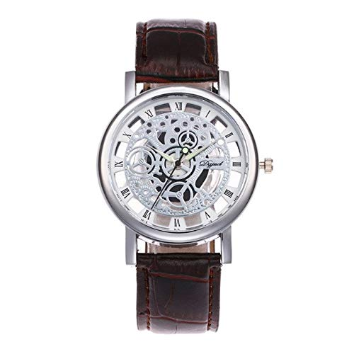 Lindsie-Box - Luxury Business Leather Band Bracelet Watche Gold Color Hollow Skeleton Dial Wrist Watch For Women Men Wrist Watch Clock