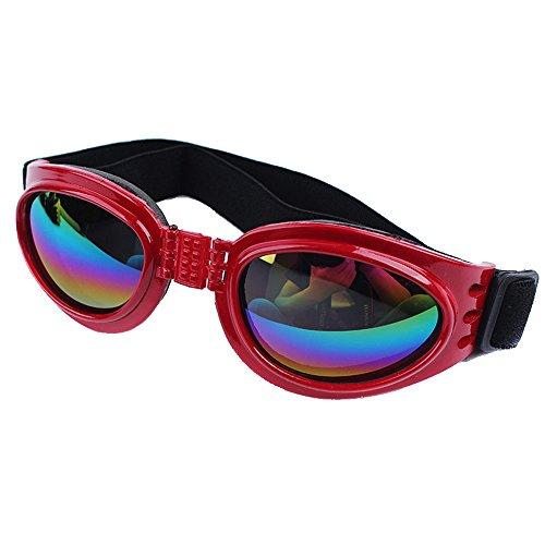 Dog Sunglasses Large UV, KROMI Pet Dog Goggles Eye Wear Protection Foldable Adjustable Big Pet Sunglasses for Dogs, - Red Dog Sunglasses