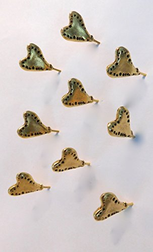 NEW ITEM 15PC DECORATIVE ANTIQUE GOLD SHOOTING HEART PUSH PINS ()