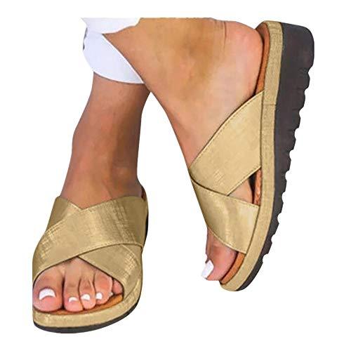 Platform Sandals for Women- 2019 New Comfort Flip Flops Wedge Shoes Flats Beach Casual Slippers (Gold -7, EU:40/US:7.5) ()