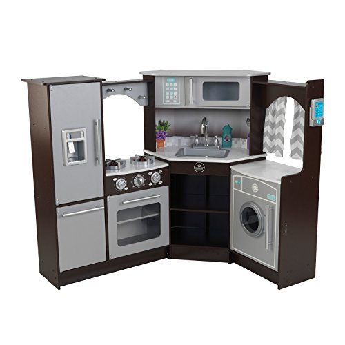 41VYNzhHHVL - KidKraft 53365 Ultimate Corner Kitchen Playset with Lights and Sounds, Brown/White
