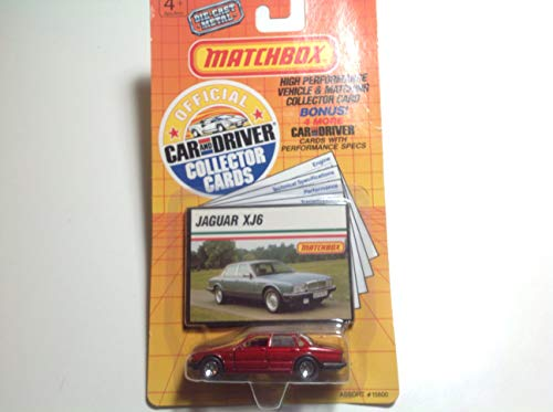 (1989 Matchbox Jaguar XJ6 Red With Official Car and Driver Collector Cards Made in Macau)