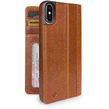 Twelve South Journal for iPhone X   Leather Wallet Shell and Display Stand (cognac)