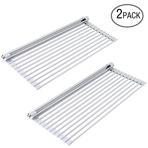 Roll Up Dish Drying Rack Over Sink 2-Pack, Ohuhu Multipurpos