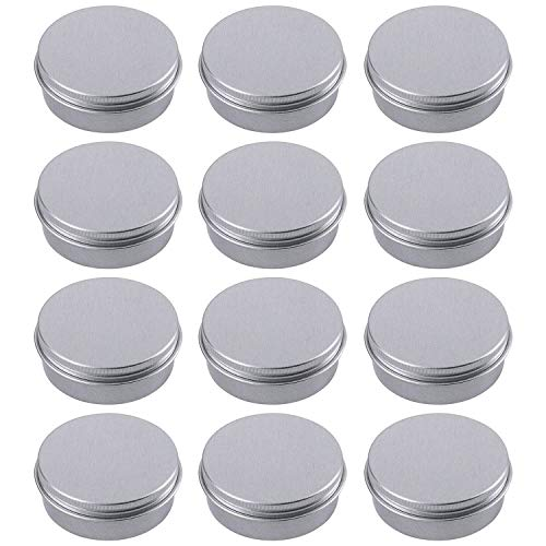 Hulless Aluminum Tin Jars 1oz Refillable Containers 30ml, Cosmetic small tins, Aluminum Screw Lid Round Tin Container Bottle for Candle, Lip Balm, Salve, Eye Shadow, Powder, Small Ounce 12 Pack. ()