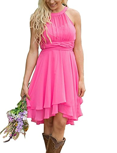 8bce7aae0cf ... Women Halter Country Short Chiffon Hi-Lo Maid of Honor Bridesmaid Dress  Hot Pink US10.   