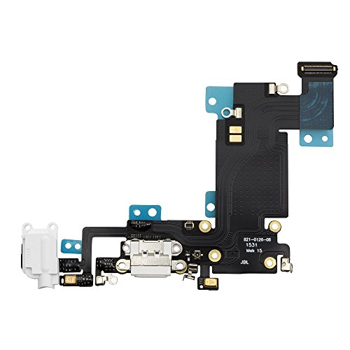 COHK USB Charging Dock Port Flex Cable with Microphone and Headphone Audio Jack Replacement for iPhone 6s Plus 5.5' (White)