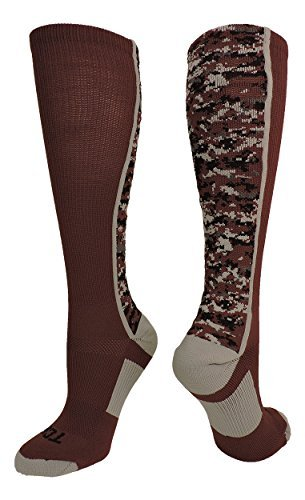TCK Sports Digital Camo Over The Calf Socks (Maroon/Grey, (Maroon Softball Shoes)