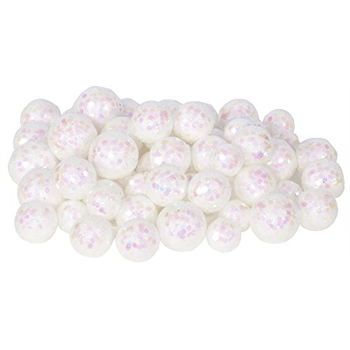 Vickerman 60ct Iridescent White Sequin and Glitter Christmas Ball Decorations 0.8