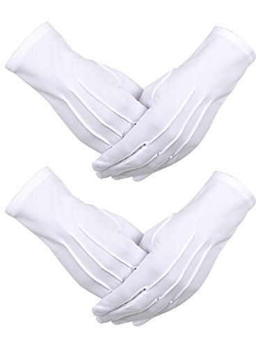 White Vinyl Gloves Costume (Sumind 2 Pairs Nylon Cotton Gloves for Police Formal Tuxedo Honor Guard Parade Costume (White))