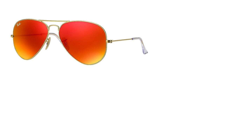 3caffb121 Amazon.com: Ray-Ban AVIATOR LARGE METAL - Gold/Orange Flash Frame PHOTO  ORANGE GSM Lenses 58mm Non-Polarized: Ray-Ban: Clothing