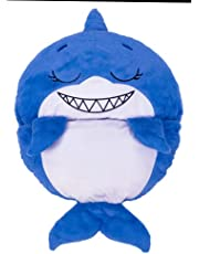 """Happy Nappers Pillow & Sleepy Sack - Comfy, Cozy, Compact, Super Soft, Warm, All Season, Sleeping Bag with Pillow - Large 66"""" x 30"""" - Sandal The Blue Shark"""