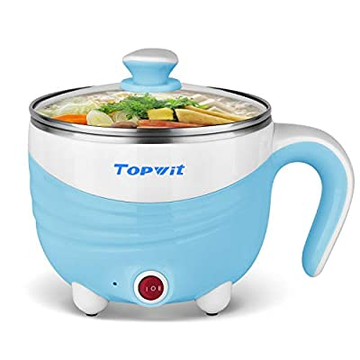 Electric Hot Pot 1.5L, Rapid Noodles Cooker, Mini Pot, Cook Perfect for Ramen, Egg, Pasta, Dumplings, Soup, Porridge, Oatmeal, Blue - A Must Have Cooker For Student - Topwit
