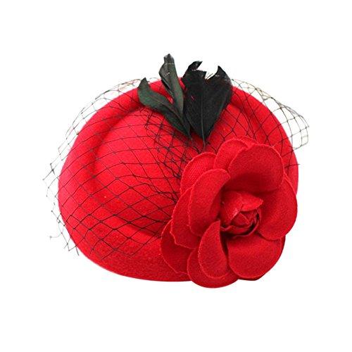 BAOBAO Fancy Women Girls Lace Feather Rose Flower Mini Top Hat Fascinator Hair Clip