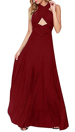 Multi Wear Long Dress - PARTY LADY Womens Plus Size Bridesmaid Dress Sleeveless V Neck Cocktail Gown Dress Elegant Party Dress Size XL Wine Red
