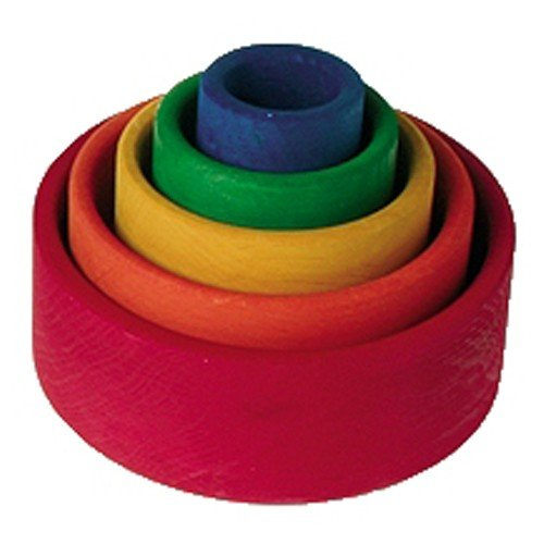 Grimm's Set of 5 Small Wooden Stacking & Nesting Rainbow Bowls, Red Outside by Grimm's Spiel and Holz Design