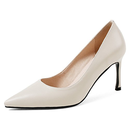 Nine Seven Genuine Leather Womens Pointed Toe Stiletto Heel Formal Handmade Classy Basic Pumps White x2yr1Z
