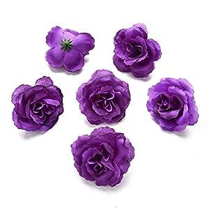 Artificial Flower Artificial Rose Silk Flower Heads Silk Flower Wedding Decoration DIY Wreath Gift Box Scrapbooking Craft Fake Flowers 30pcs 7cm (Dark Purple) 17
