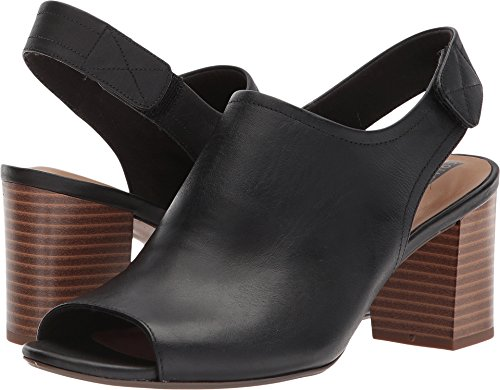 CLARKS Women's Deva Jayleen Pump, Black Leather, 10 Medium US
