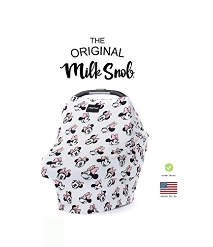 DISNEY COLLECTION The Original Milk Snob Infant Car Seat Cover and Nursing Cover Multi-Use 360° Coverage Breathable Stretchy Minnie Mouse