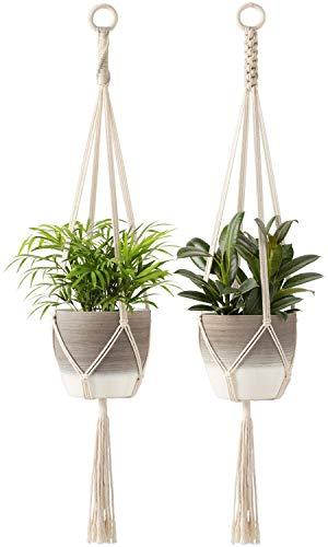Mkono Macrame Plant Hangers Indoor Hanging Planter Basket Cotton Rope Flower Pot Holder Boho Home Decor Set of 2, 39 Inches