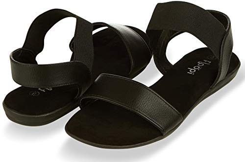 Floopi Sandals for Women | Cute, Open Toe, Wide Elastic Design, Summer Sandals| Comfy, Faux Leather Ankle Straps W/Flat Sole, Memory Foam Insole| (6, Black-514)