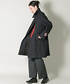 Lovat Herringbone Tweed Raglan Coat UR77-17M006: Charcoal