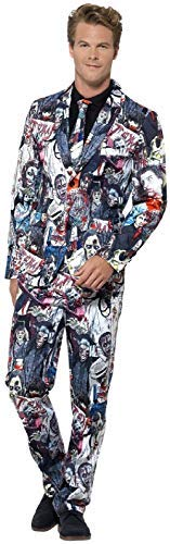 Mens Zombie Walker Stalker Suit with Tie Halloween Horror Fancy Dress Costume Outfit (Medium)