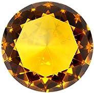 Tripact 100 mm Amber Orange Diamond Shaped Jewel Crystal Paperweight - 05