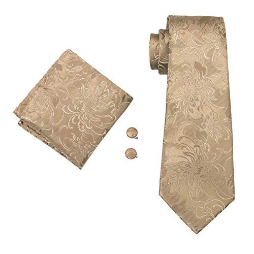 (Barry.Wang Mens Solid Gold Necktie Woven Silk Tie hankerchief Cufflinks Set)