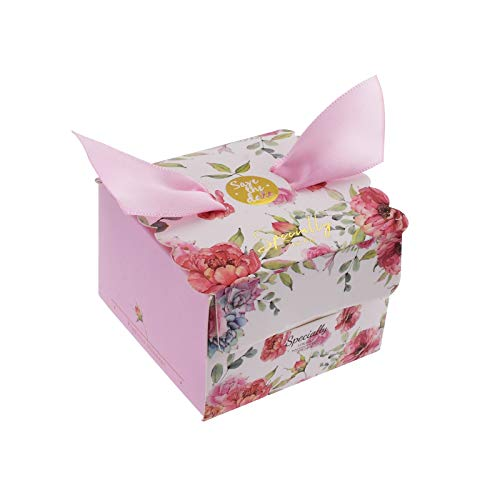 Kmall 50PCS 4.5 * 4.5 * 6.5 cm Pink Floral Wedding Gift Candy Sugar Favor Box Kraft Paper Gift Super Cute Decoration Perfect for Your Bridesmaids and Party Guests Baby Shower Birthday