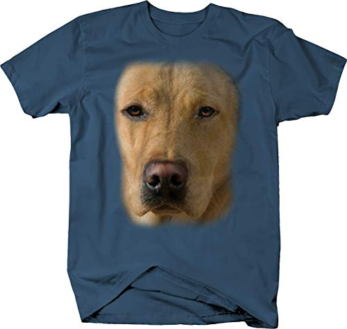 Cute Golden Retriever Dog Sad Face Tshirt - Medium Denim