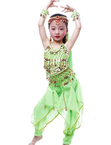 Astage Girls Oriental Belly Dance Sets Costumes All accessories Green S(Fits 3-5 -