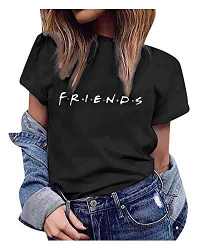 Qrupoad TV Show T Shirts Womens Summer Loose Short Sleeve Graphic Shirt Tees Tops(FBA) Black