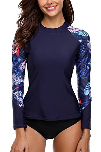 CharmLeaks long sleeve bathing suit for women navy rash guard top swimsuits M, Navy