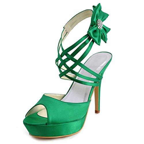 ElegantPark EP2031-PF Women Peep Toe Platform High Heel Flowers Rhinestones Strappy Satin Evening Wedding Sandals Green US 10 - Green Peep Toe Platform
