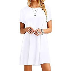 YMING Casual Simple Swing Dress for Women Summer A Line Basic Dress