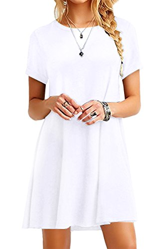 YMING Women's Simple Shirt Dresses Casual Loose Dress Solid Color Mini Dresses Short Sleeve Dress White M