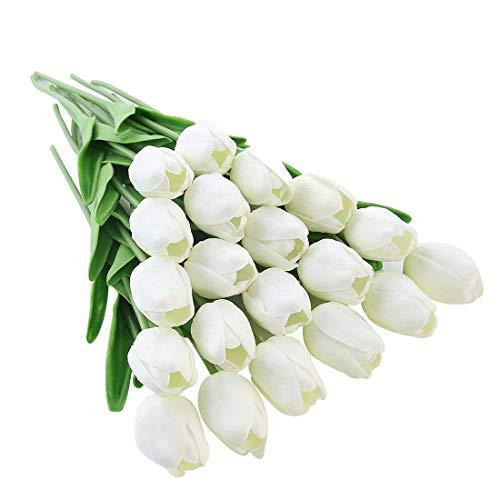 JUSTOYOU El tulipan Tiene un Toque Real, 33 cm de Largo, Flores Artificiales Decorativas para Ramos de Boda, hogar, Hotel, jardin, Evento navideno, Blanco, 20 por Paquete.