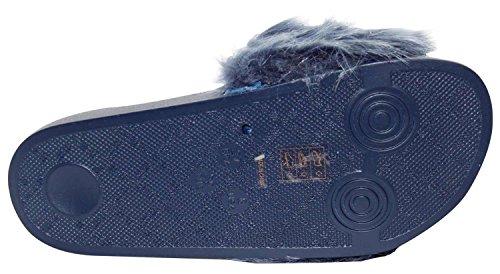 Ladies Faux Fur Flip Flop Rubber Sandals Summer Mule Shoes Navy yGWA4zTQA
