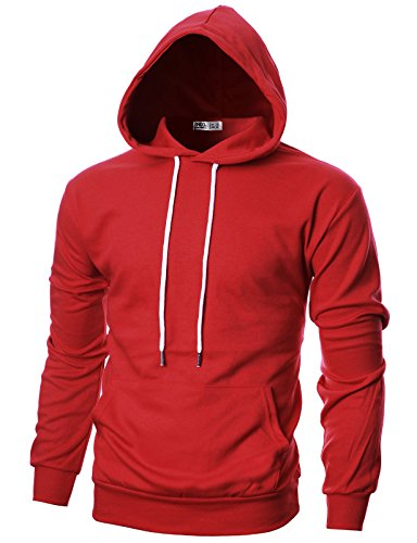 Ohoo Mens Slim Fit Long Sleeve Lightweight Hoodie with Kanga Pocket/DCF010-RED-3XL