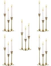 Nuptio Złote mosiężne świeczniki stożkowe, 2 szt. świecznik uchwyt na ślub stół do jadalni dekoracyjny świecznik, metalowy kandelabr, pasuje do standardowych rozmiarów świec stożkowych