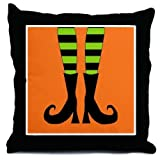 Black Orange and Green Witch Feet Happy Halloween Throw Pillow, 18""