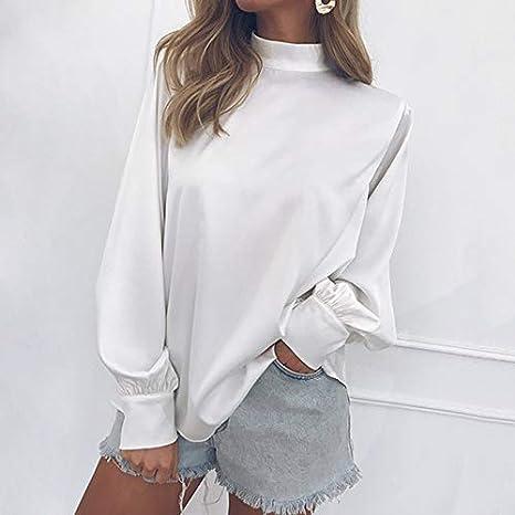 SETGVFG Blusas De Mujer Moda Blusa De Manga Larga Puff Camisa Sólido Elegante Blanco Office Lady Camisa Casual Tops Blusas Chemise Femme: Amazon.es: Deportes y aire libre