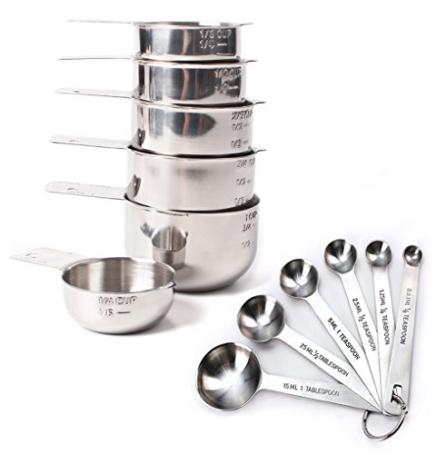 Rorence Stainless Steel Nesting Measuring Cups and Spoons 12 pcs Set (Safe Measuring Steel Cups Dishwasher)