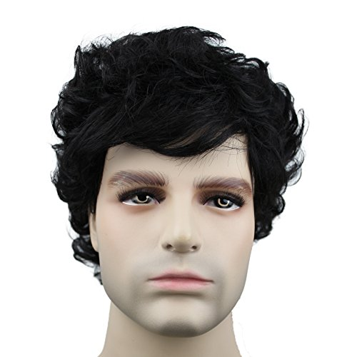 Inside Man Costume (Short Wavy Wigs for Mens with Bangs Natural Black Costume Wigs Daily Use or Cosplay)
