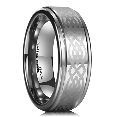 King Will 8mm Mens Tungsten Carbide Ring Laser Etched Celtic Knot Polish Edge Wedding Band(10) - Etched Fashion Ring