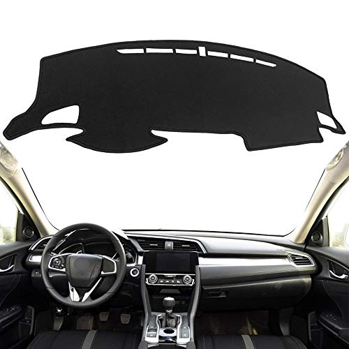 Autoxrun Dashboard Carpet Black Center Console Cover Dash Mat Protector Sunshield Cover Fits 2016-2018 Honda Civic